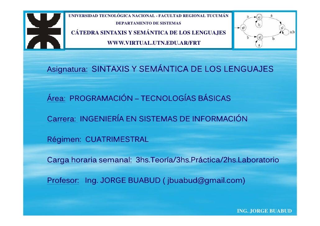 UNIVERSIDAD TECNOLÓGICA NACIONAL - FACULTAD REGIONAL TUCUMÁN                       DEPARTAMENTO DE SISTEMAS        CÁTEDRA...