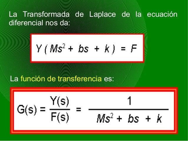 La Transformada de Laplace de la ecuación diferencial nos da: La función de transferencia es: