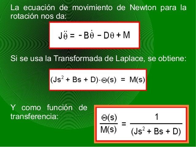La ecuación de movimiento de Newton para la rotación nos da: Si se usa la Transformada de Laplace, se obtiene: Y como func...