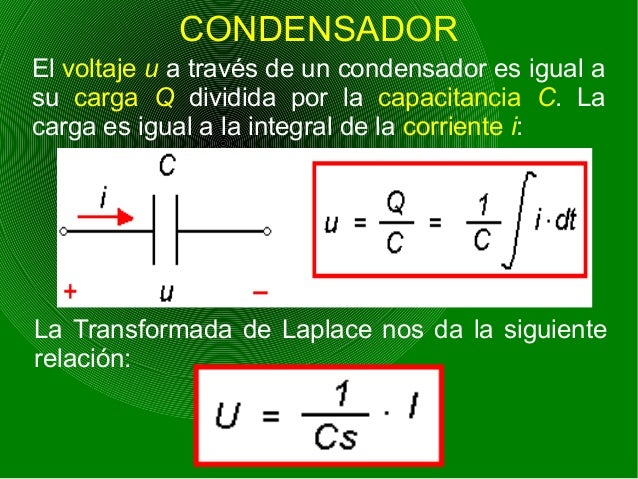 CONDENSADOR El voltaje u a través de un condensador es igual a su carga Q dividida por la capacitancia C. La carga es igua...