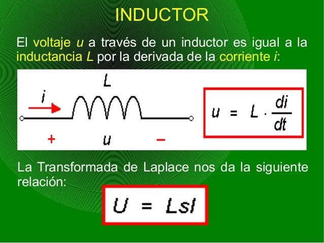 INDUCTOR El voltaje u a través de un inductor es igual a la inductancia L por la derivada de la corriente i: La Transforma...