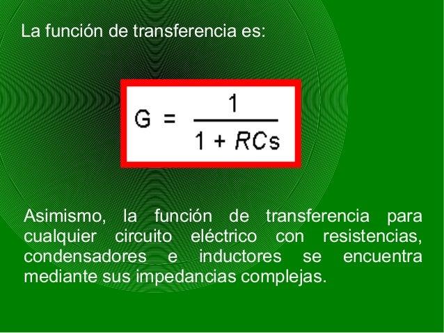 La función de transferencia es: Asimismo, la función de transferencia para cualquier circuito eléctrico con resistencias, ...