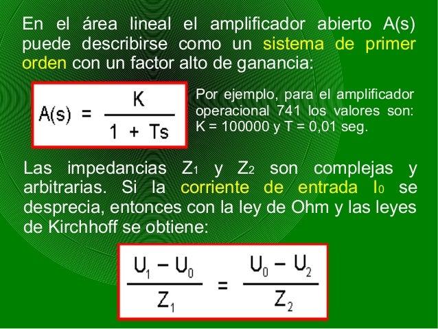 En el área lineal el amplificador abierto A(s) puede describirse como un sistema de primer orden con un factor alto de gan...