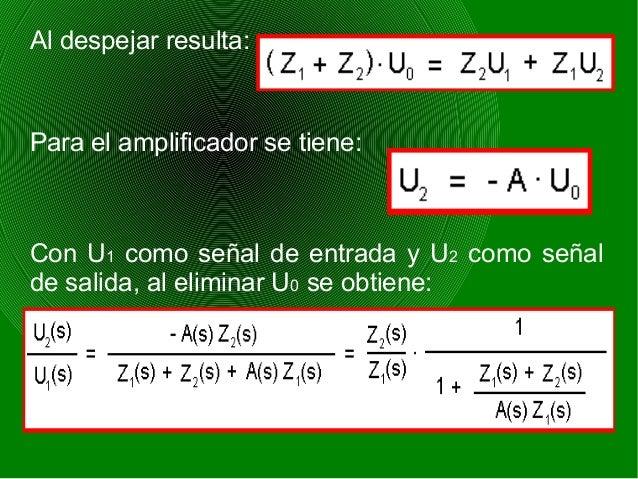 Al despejar resulta: Para el amplificador se tiene: Con U1 como señal de entrada y U2 como señal de salida, al eliminar U0...