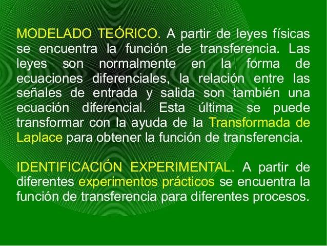 MODELADO TEÓRICO. A partir de leyes físicas se encuentra la función de transferencia. Las leyes son normalmente en la form...
