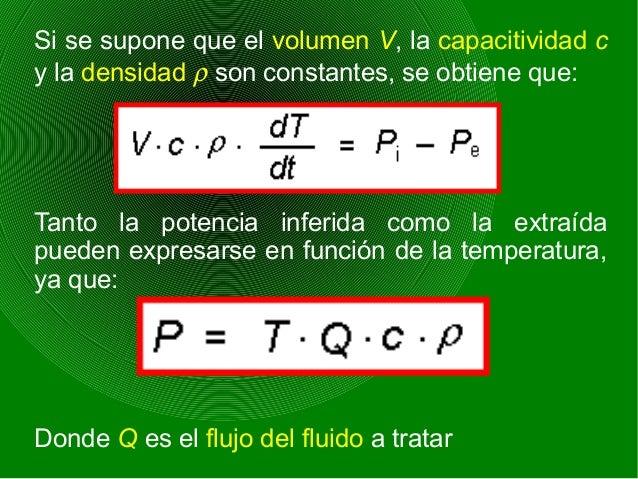 Si se supone que el volumen V, la capacitividad c y la densidad ρ son constantes, se obtiene que: Tanto la potencia inferi...
