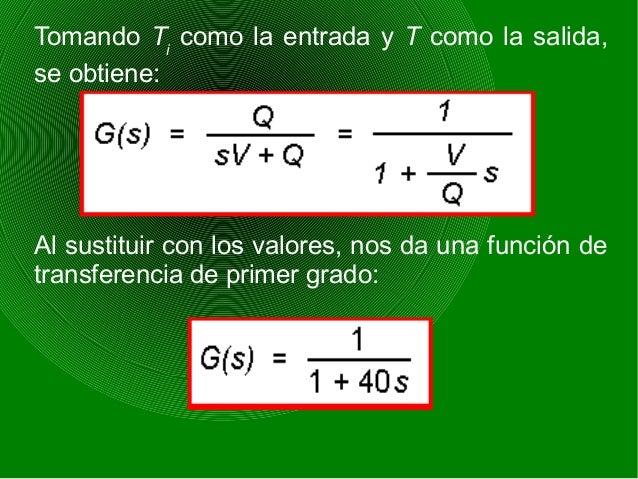Tomando Ti como la entrada y T como la salida, se obtiene: Al sustituir con los valores, nos da una función de transferenc...