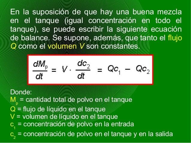 La ecuación indica que los cambios en la cantidad total de polvo en el tanque son proporcionales a la diferencia entre la ...