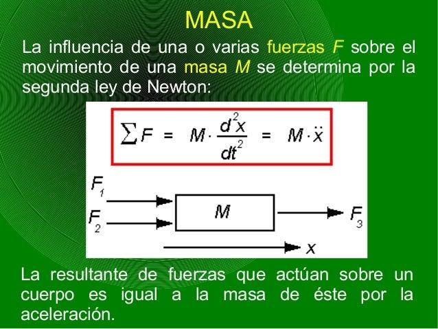 MASA La influencia de una o varias fuerzas F sobre el movimiento de una masa M se determina por la segunda ley de Newton: ...