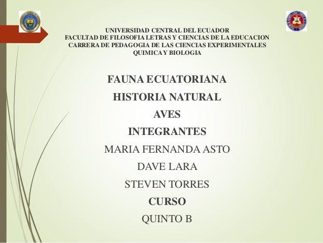 UNIVERSIDAD CENTRAL DEL ECUADOR FACULTAD DE FILOSOFIA LETRAS Y CIENCIAS DE LA EDUCACION CARRERA DE PEDAGOGIA DE LAS CIENCI...