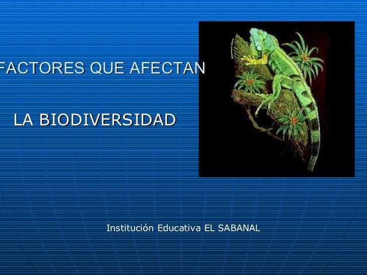 FACTORES QUE AFECTAN LA BIODIVERSIDAD Institución Educativa EL SABANAL
