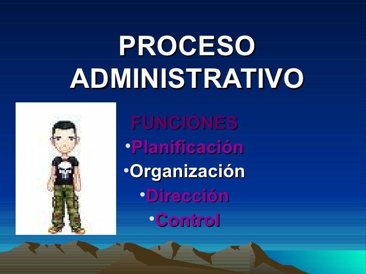 PROCESO ADMINISTRATIVO <ul><li>FUNCIONES </li></ul><ul><li>Planificación </li></ul><ul><li>Organización </li></ul><ul><li>...