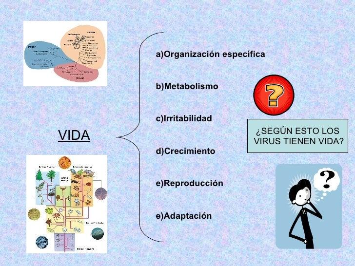 VIDA a)Organización específica b)Metabolismo   c)Irritabilidad   d)Crecimiento   e)Reproducción e)Adaptación   ¿SEGÚN ESTO...