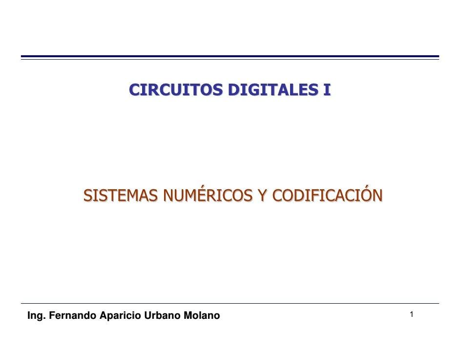 CIRCUITOS DIGITALES I               SISTEMAS NUMÉRICOS Y CODIFICACIÓN     Ing. Fernando Aparicio Urbano Molano          1
