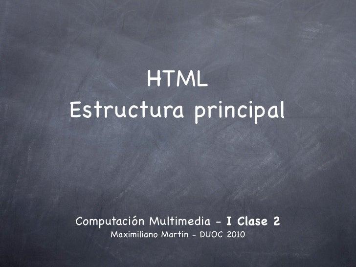 Estructura principal de HTML