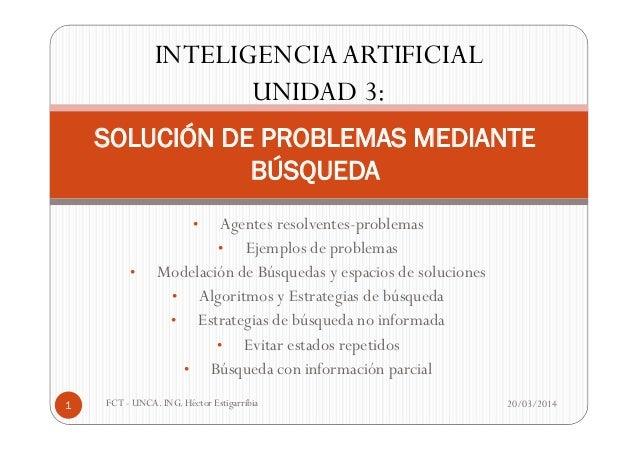 • Agentes resolventes-problemas • Ejemplos de problemas • Modelación de Búsquedas y espacios de soluciones • Algoritmos y ...