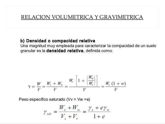 RELACION VOLUMETRICA Y GRAVIMETRICA Peso específico saturado (Vv = Vw =e) b) Densidad o compacidad relativa Una magnitud m...