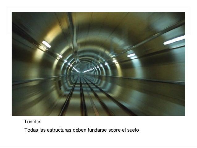 Tuneles Todas las estructuras deben fundarse sobre el suelo