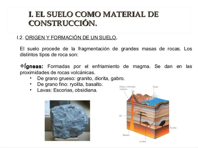 El suelo procede de la fragmentación de grandes masas de rocas. Los distintos tipos de roca son: Ígneas: Formadas por el ...