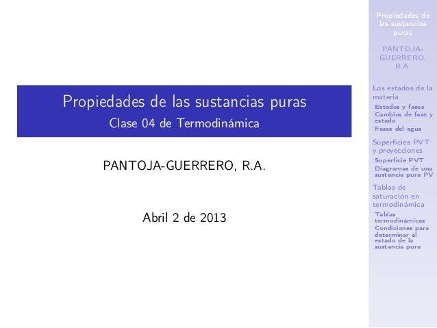 Propiedades de las sustancias puras PANTOJA- GUERRERO, R.A. Los estados de la materia Estados y fases Cambios de fase y es...