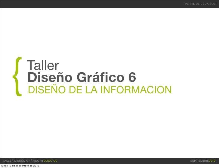 PERFIL DE USUARIOS           {             Taller                     Diseño Gráfico 6                      DISEÑO DE LA IN...