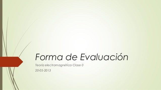 Forma de EvaluaciónTeoría electromagnética Clase 020-05-2013