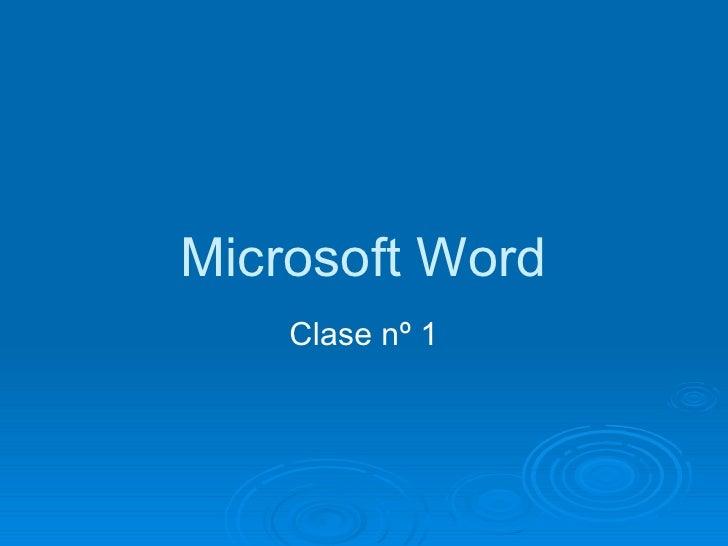 Microsoft Word Clase nº 1