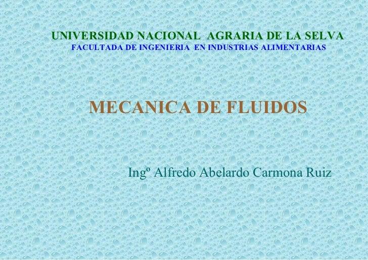 UNIVERSIDAD NACIONAL AGRARIA DE LA SELVA  FACULTADA DE INGENIERIA EN INDUSTRIAS ALIMENTARIAS     MECANICA DE FLUIDOS      ...
