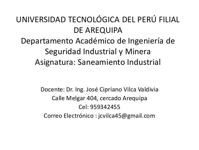 UNIVERSIDAD TECNOLÓGICA DEL PERÚ FILIAL              DE AREQUIPA Departamento Académico de Ingeniería de       Seguridad I...
