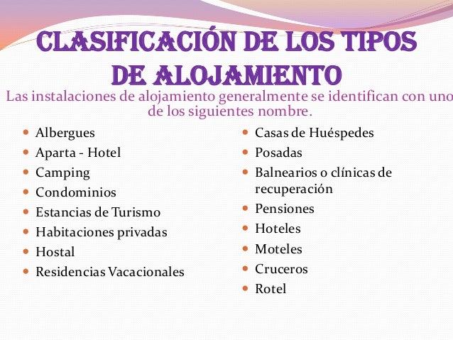 Establecimientos de alojamiento y hospedaje for Tipos de servicios de un hotel