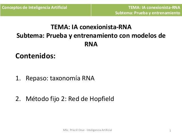 TEMA: IA conexionista-RNA Subtema: Prueba y entrenamiento con modelos de RNA Contenidos: 1. Repaso: taxonomía RNA 2. Métod...
