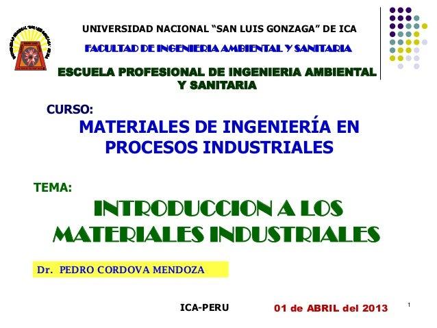 """UNIVERSIDAD NACIONAL """"SAN LUIS GONZAGA"""" DE ICA         FACULTAD DE INGENIERIA AMBIENTAL Y SANITARIA     ESCUELA PROFESIONA..."""