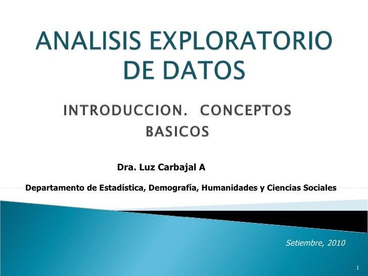 INTRODUCCION.  CONCEPTOS BASICOS Dra. Luz Carbajal A Setiembre, 2010 Departamento de Estadística, Demografía, Humanidades ...