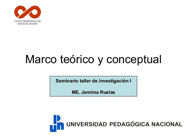 Marco teórico y conceptual Seminario taller de investigación I ME. Jemima Ruelas