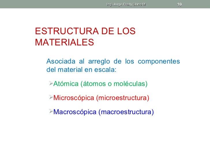 Ing. Jorge Fredy Llano M   10ESTRUCTURA DE LOSMATERIALES Asociada al arreglo de los componentes del material en escala:  ...