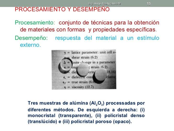 Ing. Jorge Fredy Llano M    13PROCESAMIENTO Y DESEMPEÑOProcesamiento: conjunto de técnicas para la obtención  de materiale...