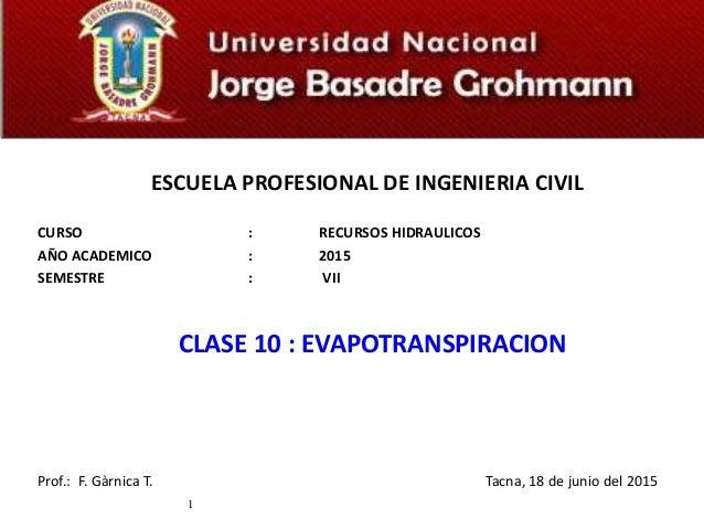 ESCUELA PROFESIONAL DE INGENIERIA CIVIL CURSO : RECURSOS HIDRAULICOS AÑO ACADEMICO : 2015 SEMESTRE : VII CLASE 10 : EVAPOT...