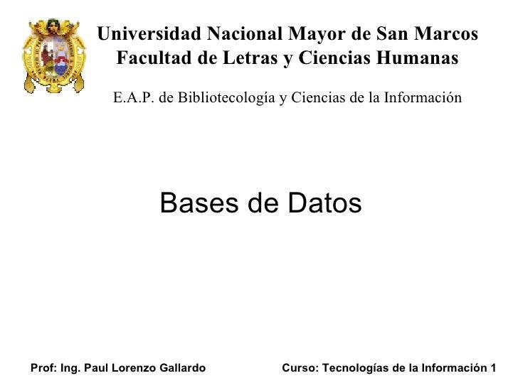 Universidad Nacional Mayor de San Marcos Facultad de Letras y Ciencias Humanas E.A.P. de Bibliotecología y Ciencias de la ...