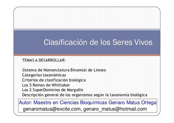 x                                                   . m             Clasificación de los Seres Vivos                      ...