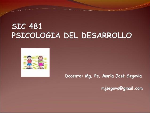 Docente: Mg. Ps. María José Segovia mjsegova@gmail.com