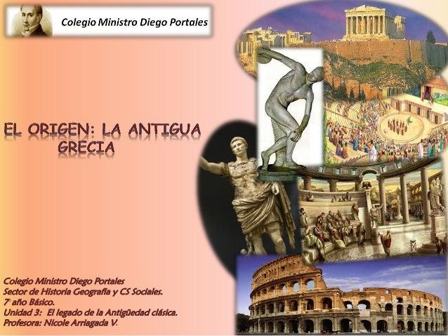 Colegio Ministro Diego Portales Sector de Historia Geografía y CS Sociales. 7°año Básico. Unidad 3: El legado de la Antigü...
