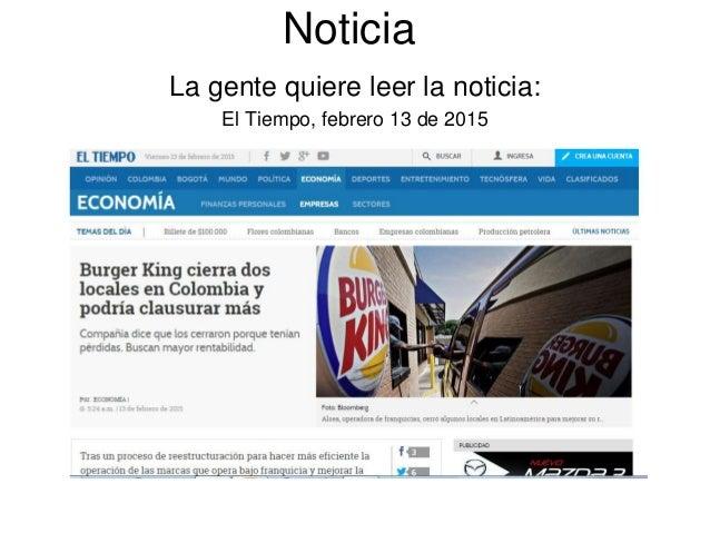 Noticia La gente quiere leer la noticia: El Tiempo, febrero 13 de 2015