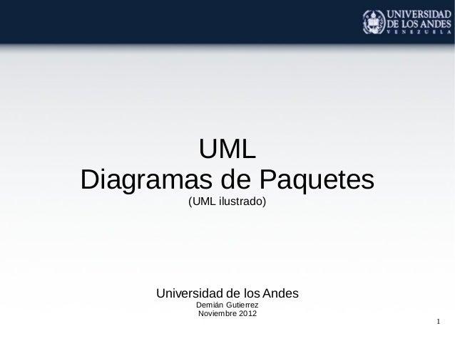 1UMLDiagramas de Paquetes(UML ilustrado)Universidad de los AndesDemián GutierrezNoviembre 2012