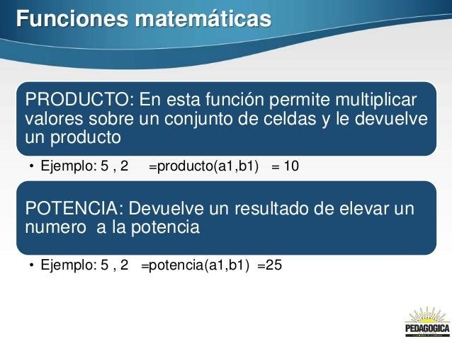 Funciones matemáticasPRODUCTO: En esta función permite multiplicarvalores sobre un conjunto de celdas y le devuelveun prod...