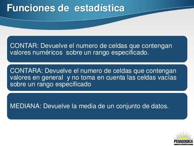 Funciones de estadísticaCONTAR: Devuelve el numero de celdas que contenganvalores numéricos sobre un rango especificado.CO...
