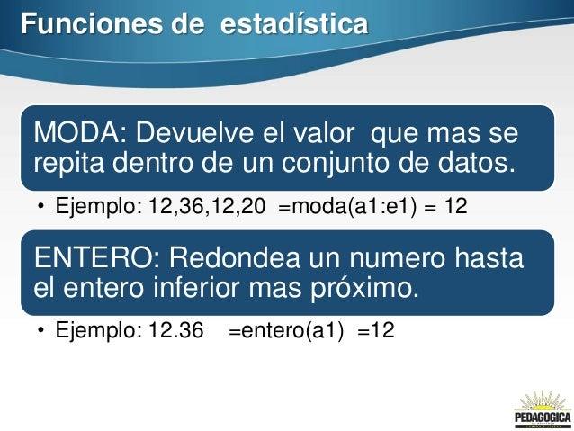 Funciones de estadísticaMODA: Devuelve el valor que mas serepita dentro de un conjunto de datos. • Ejemplo: 12,36,12,20 =m...