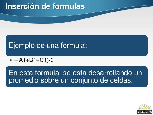 Inserción de formulasEjemplo de una formula: • =(A1+B1+C1)/3En esta formula se esta desarrollando unpromedio sobre un conj...