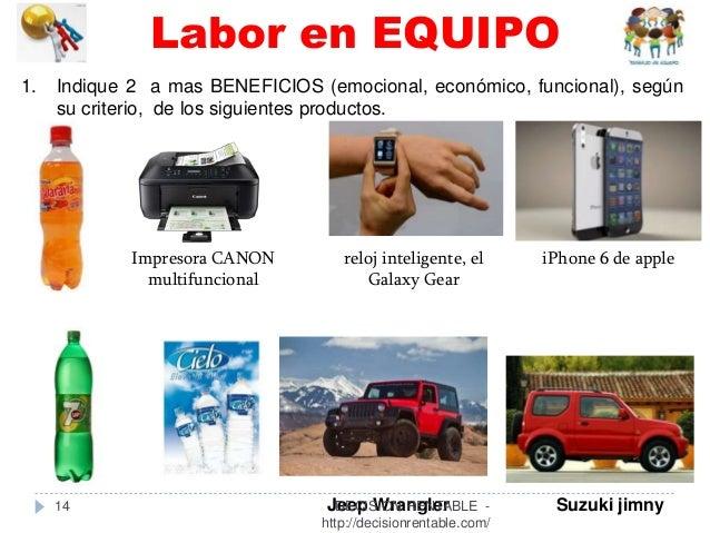 14 1. Indique 2 a mas BENEFICIOS (emocional, económico, funcional), según su criterio, de los siguientes productos. Impres...