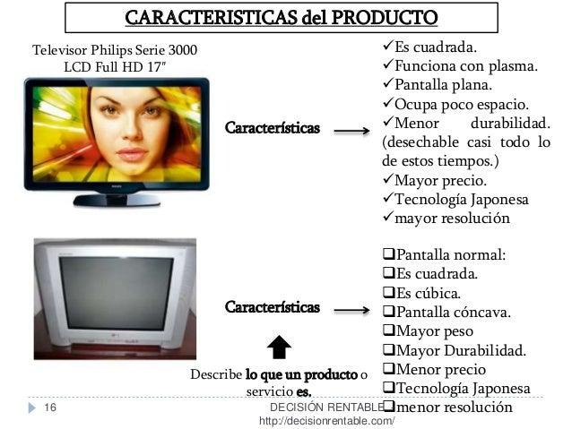 16 CARACTERISTICAS del PRODUCTO Características Televisor Philips Serie 3000 LCD Full HD 17″ Es cuadrada. Funciona con p...