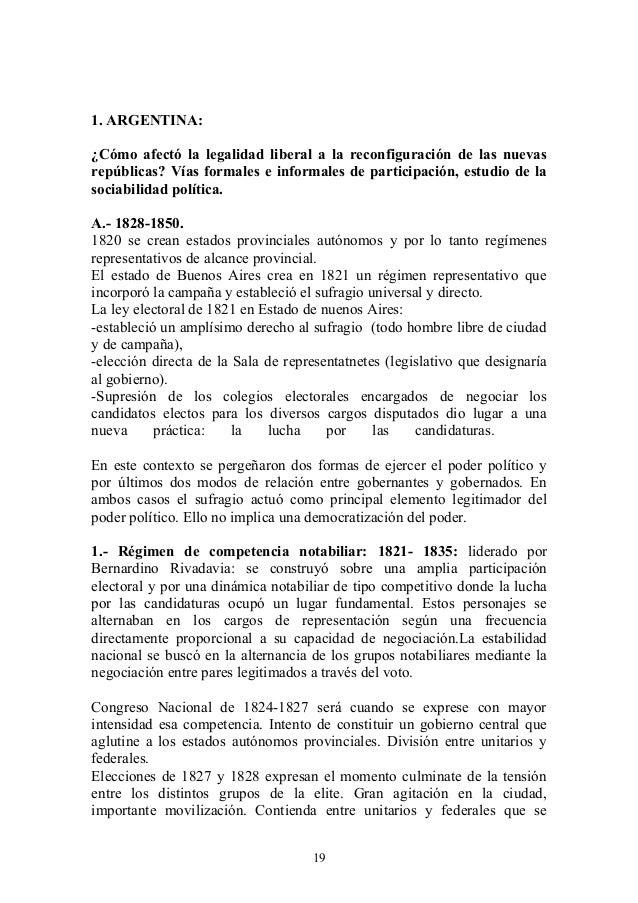 1. ARGENTINA: ¿Cómo afectó la legalidad liberal a la reconfiguración de las nuevas repúblicas? Vías formales e informales ...